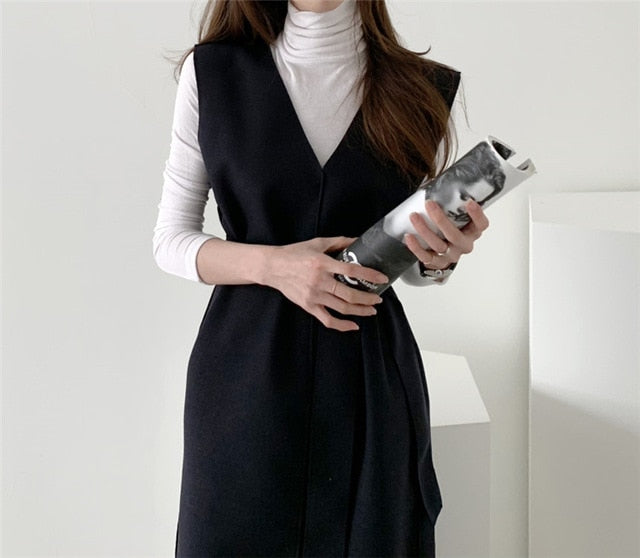 New 2020 Autumn Spring  Women Dresses Sashes Solid Split Straight Knitting Warm Sweater Elegant Office Ladies