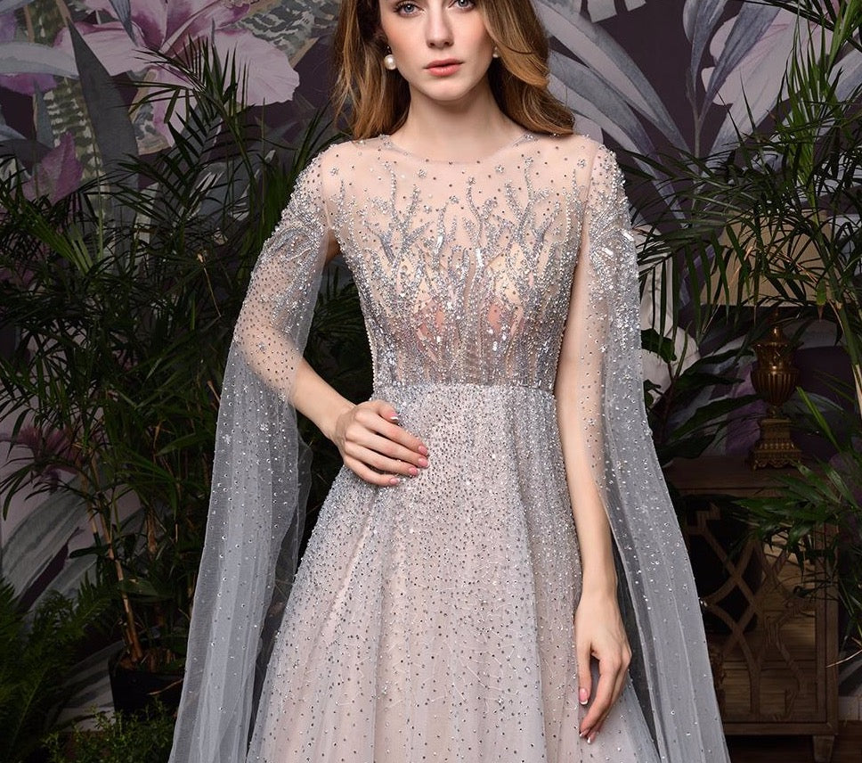 Silver Grey Luxury Dubai Evening Dresses 2020 Long Sleeves O-Neck A-Line Sexy Evening Gowns - LiveTrendsX