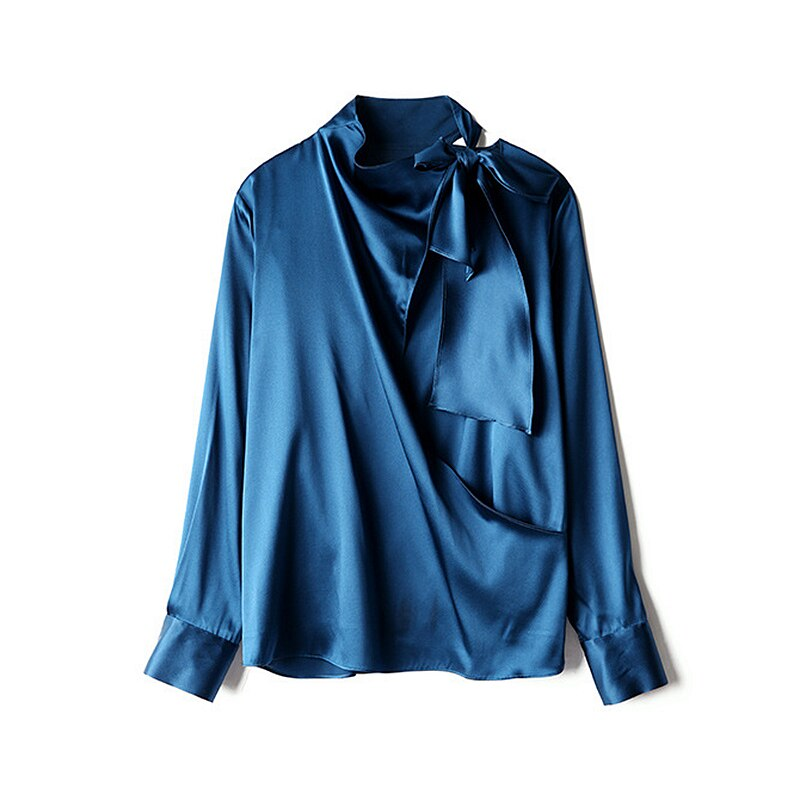 Women Blouse 95% Silk Bow Neck Solid Womens long sleeve shirt women High Quality Silk Blouses Casual New Fashion - LiveTrendsX