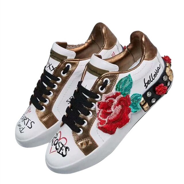 Rose Graffiti Rhinestone Flats Print Genuine Leather Sneakers Fashion Lace Up Quality Round Toe Ladies Loafer Shoes Women