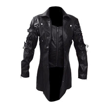 Load image into Gallery viewer, Men Leather Jacket Winter Waterproof Long Faux Fur Coats Men Leather Motorcycle Jackets Clothing Gothic Black Jacket Zipper - LiveTrendsX