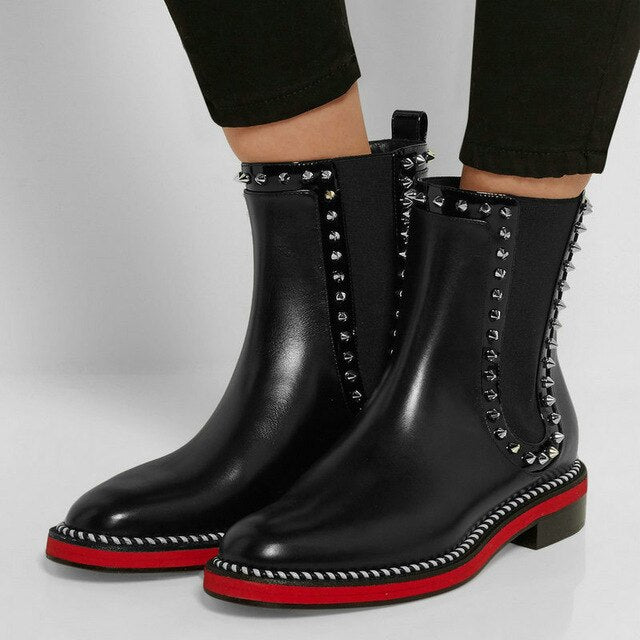 Luxury Genuine Leather Chelsea Boots Woman Brand Design Flat boots Fall Red Ankle Boots Ladies Fashion Studded Boots - LiveTrendsX