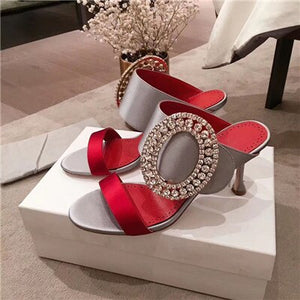 New Silk Two bands high heel Slippers shoes woman Luxury Big Circular rhinestone buckle Mules Dress party shoes jeweled sandals - LiveTrendsX