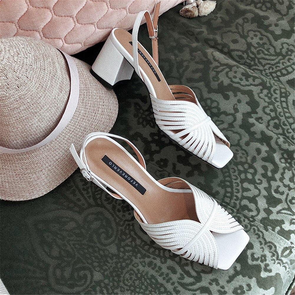 New INS Hot women's Genuine Leather Ladies High Heels Women Shoes Woman Casual Office Summer Sandals