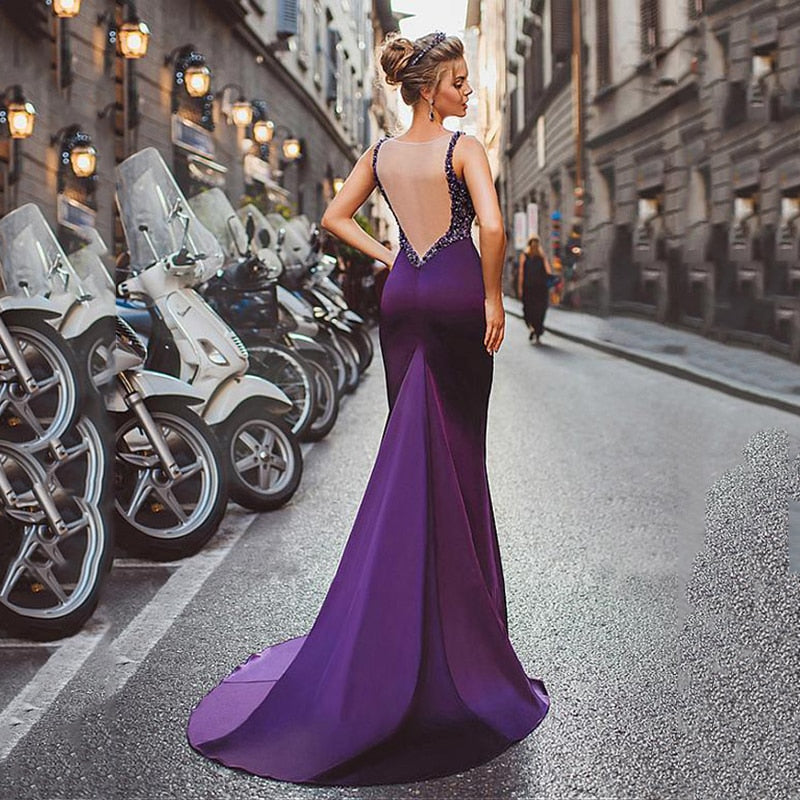 Satin Mermaid Long Evening Dresses 2020 Purple Beadings Women Backless Formal Party Elegant Long Evening Gown - LiveTrendsX