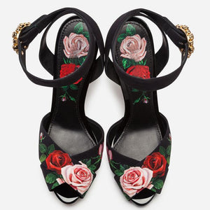 High end design high heels rose flower insert strange heel summer sandals floral printing formal wedding party shoes women - LiveTrendsX