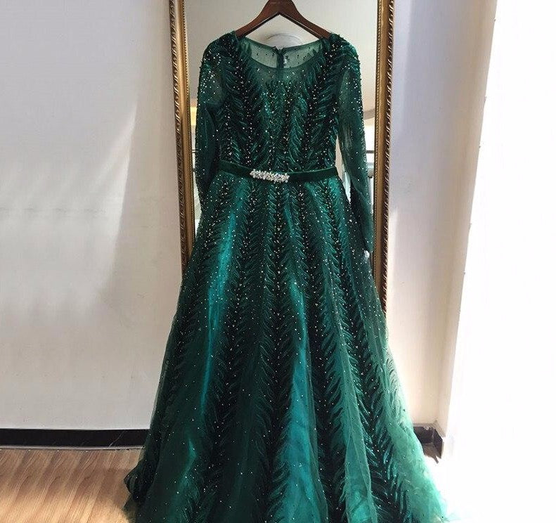 Dubai Design Green Long Sleeves Evening Dresses 2020 O-Neck Beading Sequined A-Line Formal Dress - LiveTrendsX