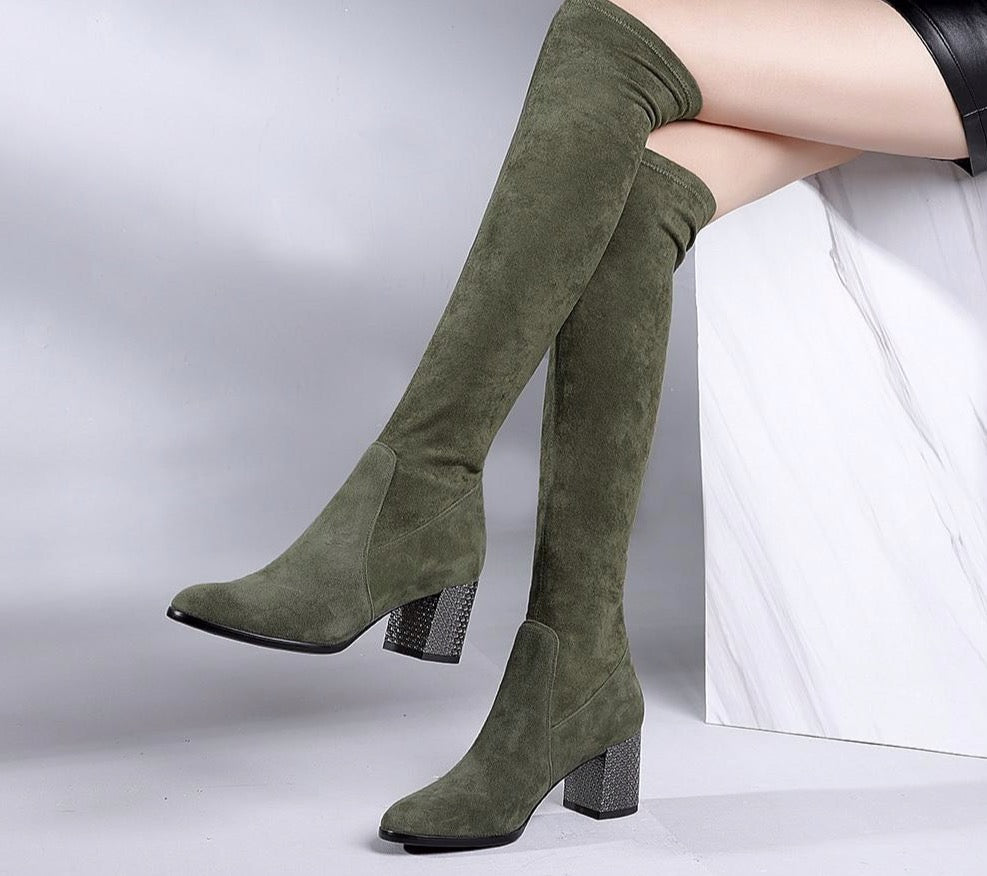 New Over The Knee Woman Boots Fashion High Quality Handmade Round Toe Square Heel Boots Solid Elegant Party Shoes