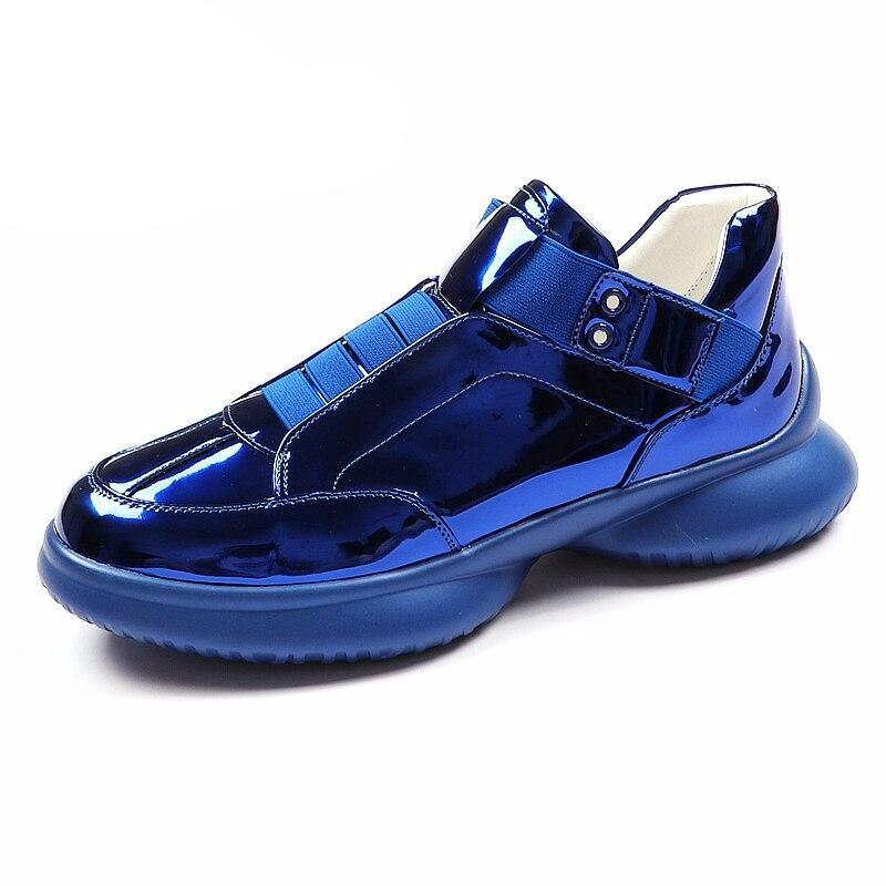 Luxury Brand Men Fashion Casual Boots Spring Autumn Men Sneakers High Top Blue Men Slip on Men Shoes - LiveTrendsX