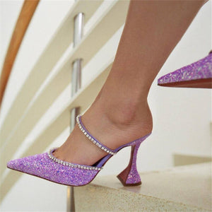 Crystal Design High Heels Shoes Woman Slippers Mules Chaussures Femme Pointed Toe Summer Ladies Slides Slip On Zapatos Mujer - LiveTrendsX