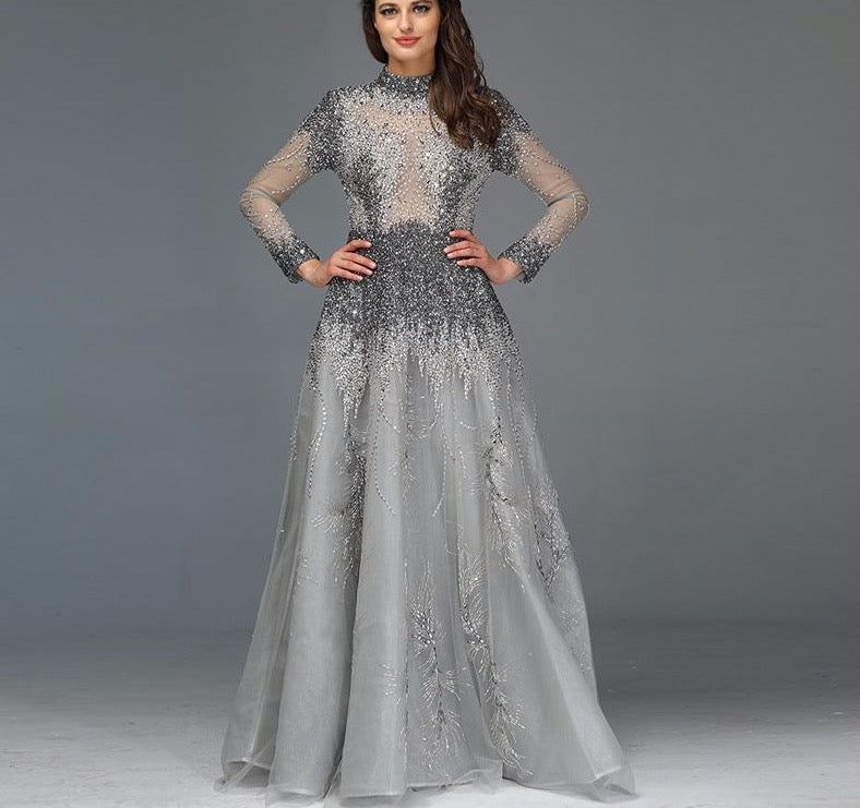 Muslim Grey Luxury Long Sleeves Evening Dresses 2020 Latest Design Crystal High Neck Formal Dress