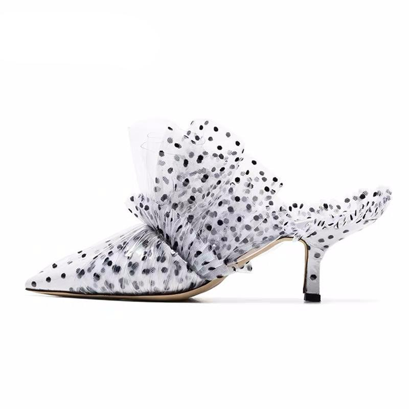 PVC Covered High Heel Dotted Mules Elegant Pointed Toe High Heel Party Shoes Women Dress Slides - LiveTrendsX