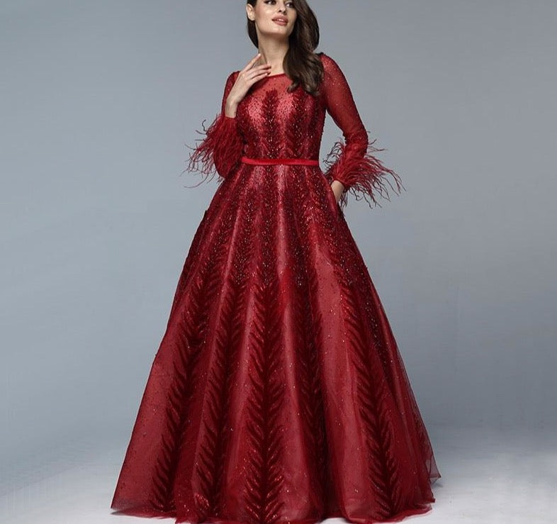 Luxury Wine Red  Dubai Design Evening Dresses Long Sleeves Feathers Crystal Formal Dress 2020