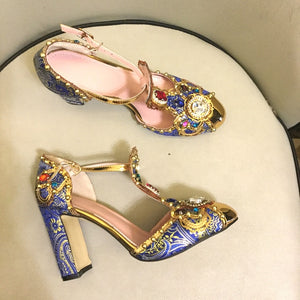 Spring Summer Rhinestone Shoes Women Embroidery Flower Jewelled Diamond High Heels Pumps Bridal Crystal Metal Wedding Shoes - LiveTrendsX