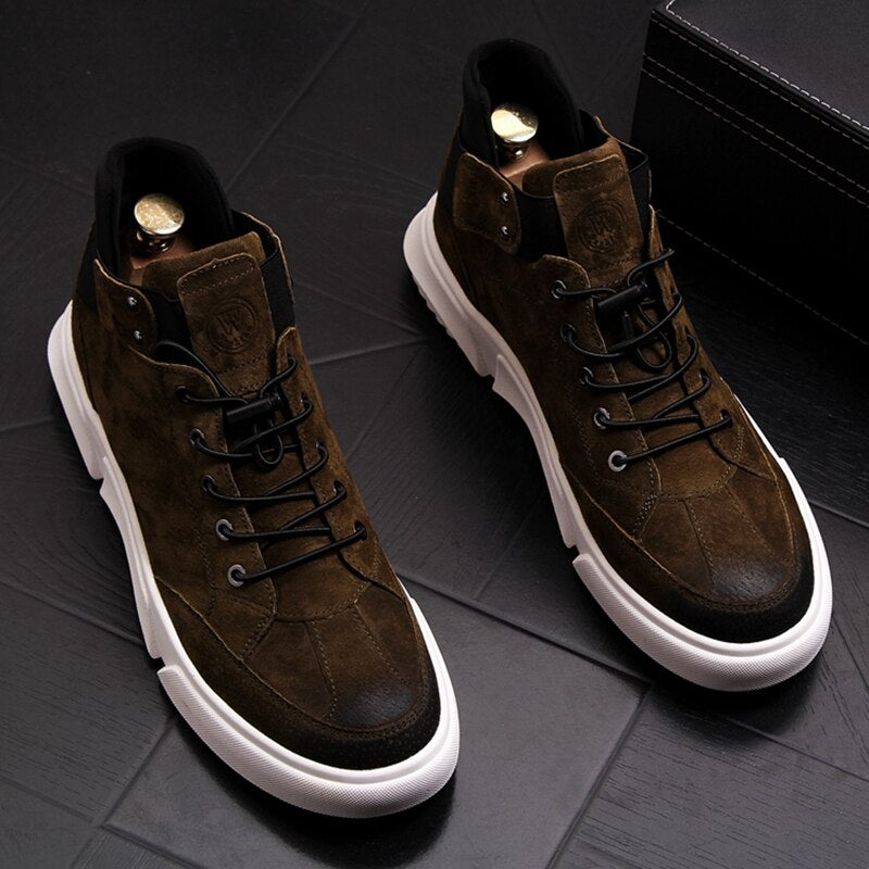 New Men Fashion Casual Ankle Boots Spring Autumn Thick Bottom High Top Leisure Sneakers Male Breathable Retro Shoes - LiveTrendsX
