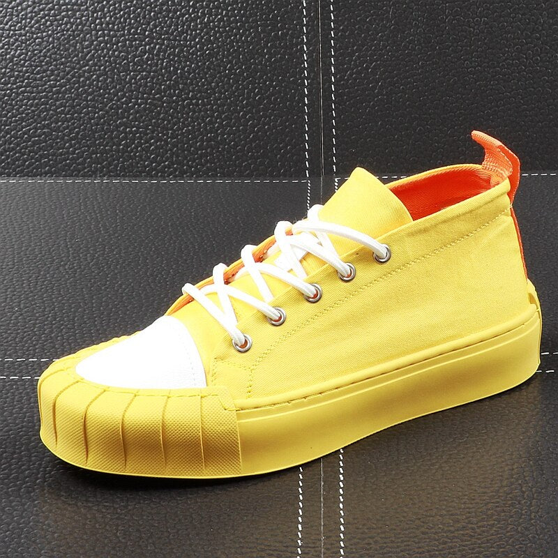 Men Fashion Shell Toe Shoes Summer Thick Bottom Casual Shoes Lace Up Stitch Tide Male Outdoor Youth Walking Shoes - LiveTrendsX