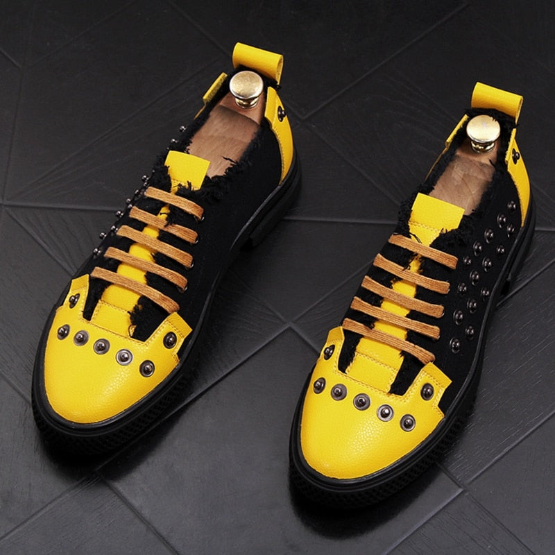 Men Fashion Causal Rivets Shoes Male Street Trend Retro Yellow Black Punk Style Loafers Men Luxury Brand Shoes - LiveTrendsX