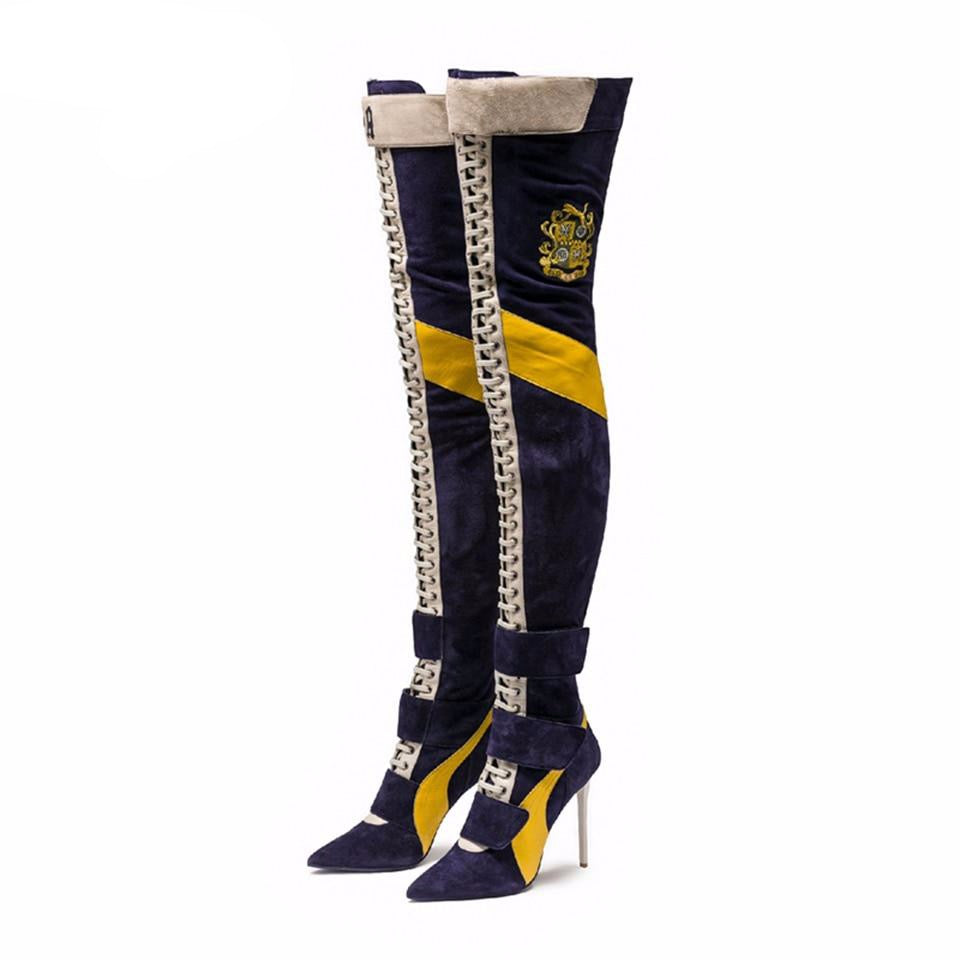 New Arrival Blue Patchwork Thigh high boots Women pointy toe High heels Lace up botas largas Sexy Over the knee knight boots - LiveTrendsX