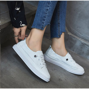 Women White Flats Pu Soft Leather Sneakers Canvas Loafers Comfort Lace Up Casual Spring Woman Vulcanized Shoes Summer Mocassins - LiveTrendsX