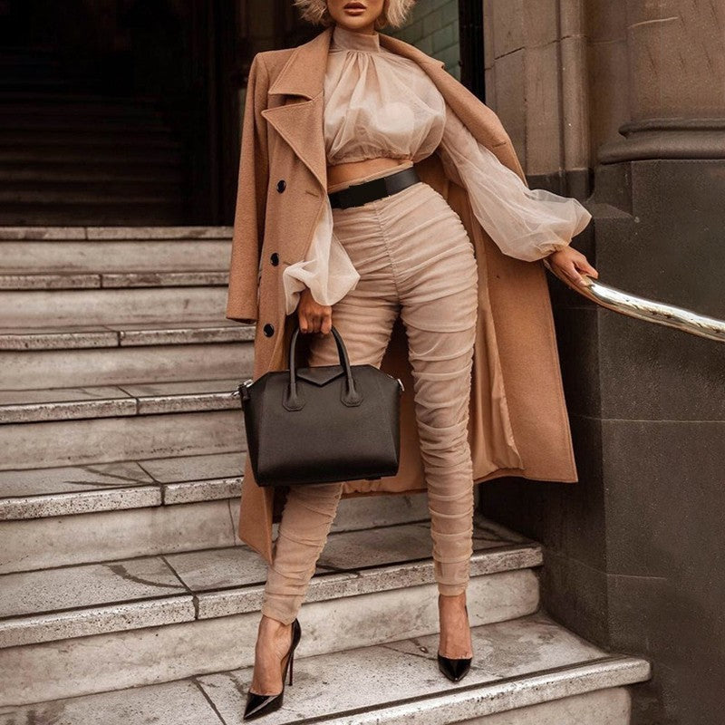Two Piece Sets Female Turtleneck Puff Long Sleeve Crop Tops High Waist Pencil Pants Womens Suits 2020 Spring New