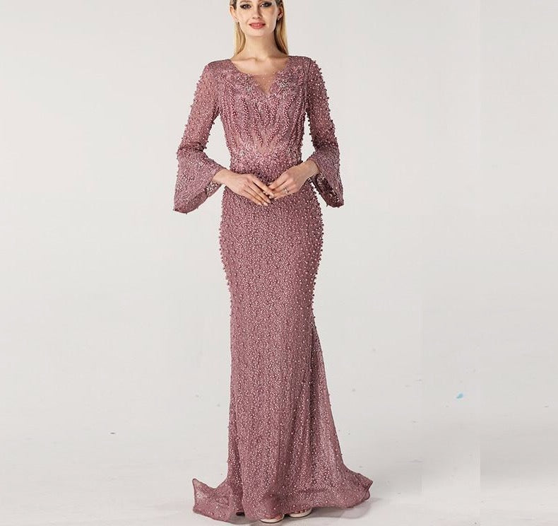 Muslim Pink Luxury Long Sleeves Evening Dresses Pearls Crystal Lace Formal Dress 2020 - LiveTrendsX
