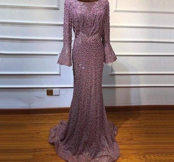 Muslim Pink Luxury Long Sleeves Evening Dresses Pearls Crystal Lace Formal Dress 2020