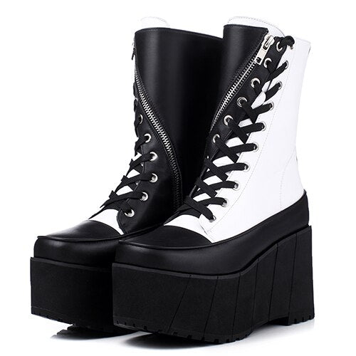 Handmade Genuine Leather Boots Women White Spring Autumn Fashion Zipper Motorcyle Boots Woman Thick Bottom Wedge Shoes - LiveTrendsX
