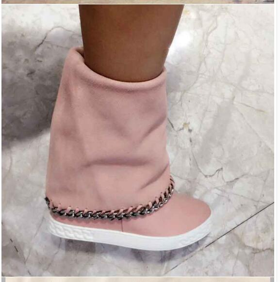 Botines mujer suede leather platform shoes metal decoration ankle boots height increasing chain wedges snow boots woman botas