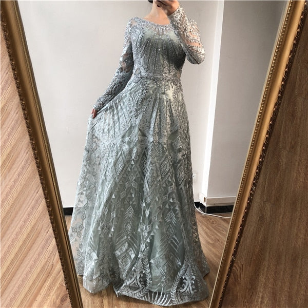 Dubai Luxury Long Sleeves Evening Dresses 2020 Navy Blue O-Neck Crystal Formal Dress Design  Plus Size