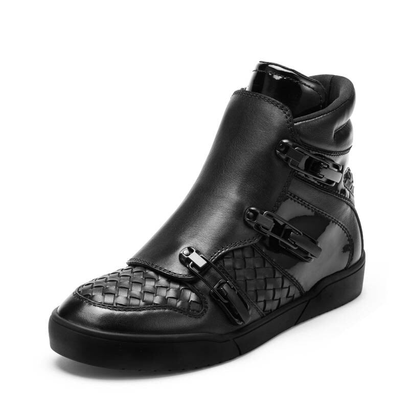 England Style Punk Genuine Leathe Cow Men Breathable Zipper New Fashion Winter Male Casual Shoes Hidden Height Buckle Strap