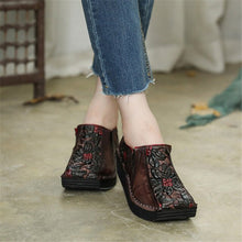 Load image into Gallery viewer, Women Leather Pumps Retro Wedge Heels High Women Shoes Autumn Slip On Handmade Genuine Leather Embroidery Pumps Women Casual - LiveTrendsX
