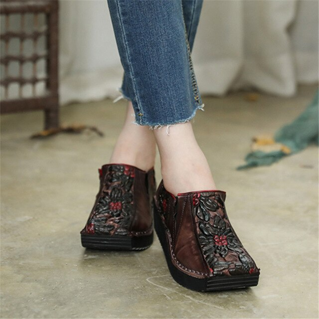 Women Leather Pumps Retro Wedge Heels High Women Shoes Autumn Slip On Handmade Genuine Leather Embroidery Pumps Women Casual - LiveTrendsX