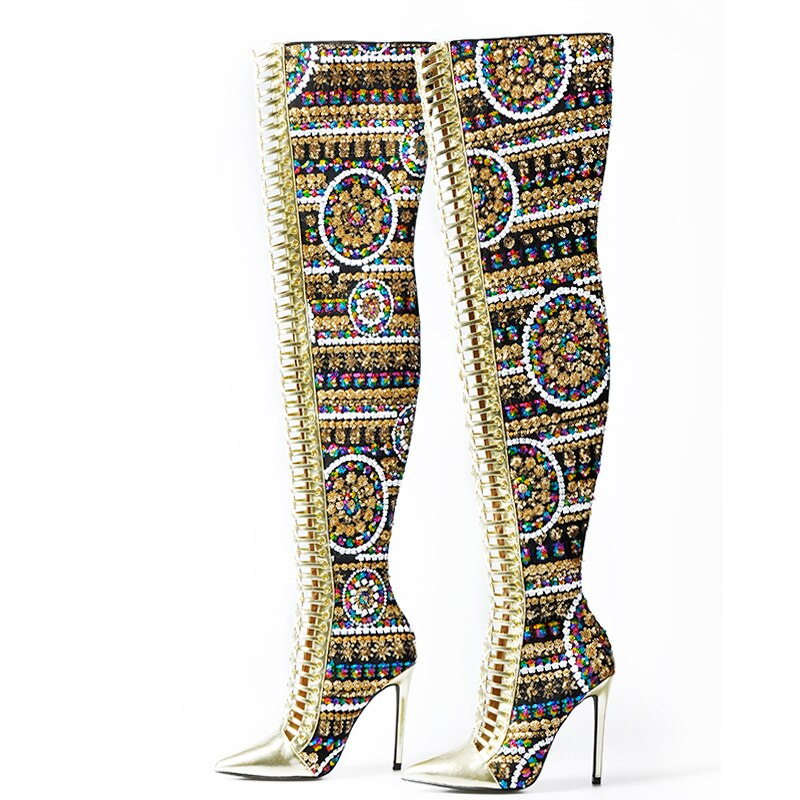 Winter Shoes Women SHiny Sequined Cloth Over the Knee Thigh High Boots Cross Tied International Show Boots Women - LiveTrendsX