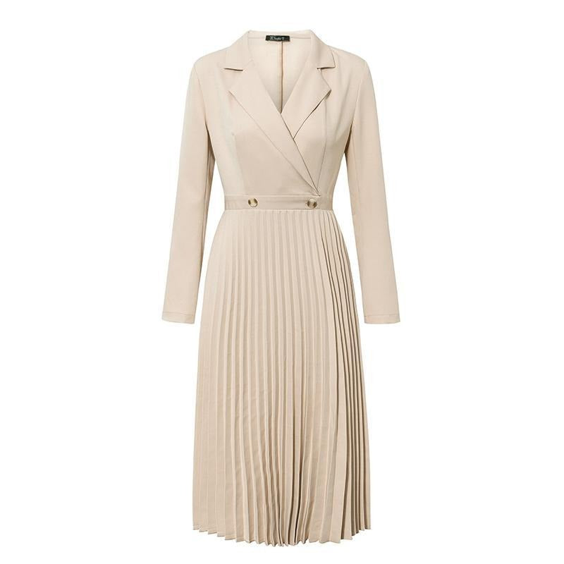 Elegant pleated women office dress Solid breasted ladies blazer dress Autumn winter long sleeve chic female party dress