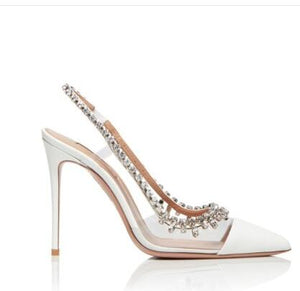 Sexy Bling Bling Crystal Wedding Shoes Bride PVC Rhinestone Patchwork Dress Pumps Pointed Toe Glittering Heels Pumps - LiveTrendsX
