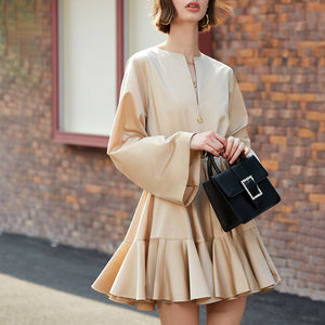 Women Pleated Split Joint Elegant Cake Dress New Round Neck Long Sleeve Loose Fit Fashion Tide Spring Autumn 2020