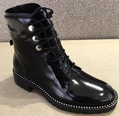 Genuine Leather Thick Heel Round Toe Lace Up Winter Boots Superstar Luxury Punk Rock Metal Rivets Fasteners Ankle Boots - LiveTrendsX