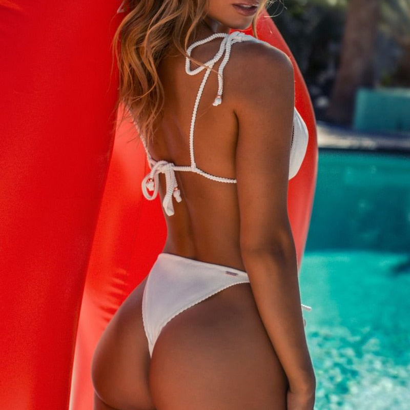 Triangle bikini micro two-piece suit String swimsuit female Sexy red swimwear women 2020 bathing suit Brazilian biquini - LiveTrendsX