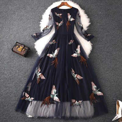 High Quality Designer Runway Maxi Dress Women  Summer Elegant Birds Embroidery Tulle Maxi Party Dresses Sexy Casual Vestidos