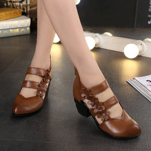 Ethnic Style Genuine Leather Women Sandals Med Heels Closed Toes Handmade Summer Soft Outsole Women Casual Shoes - LiveTrendsX