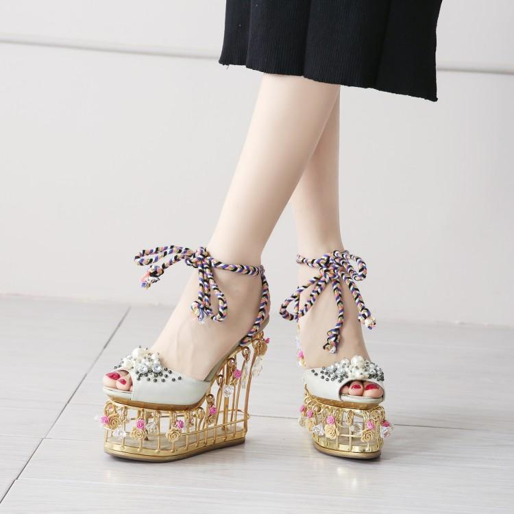 Lady Charming Pearl Bird Cage High Wedges Dress Wedding Shoes Woman Light Crystal Platform Rome Sandals Girls Rose Runway Shoes