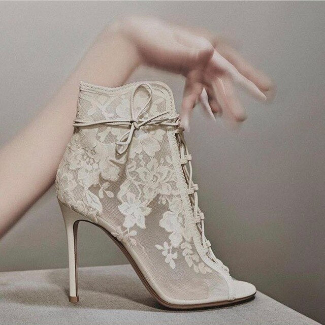 Women Wedding Booties Lace Embroider Tied Up Ankle Spring Boots Hollow Peep Toe Stiletto High Heel Shoes Bride Party Dress - LiveTrendsX