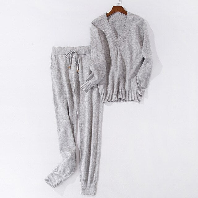 Women sweater suit and setsCasual Knitted Sweaters Pants 2PCS Track Suits Woman Casual Knitted Trousers+Jumper Tops Clothing Set - LiveTrendsX