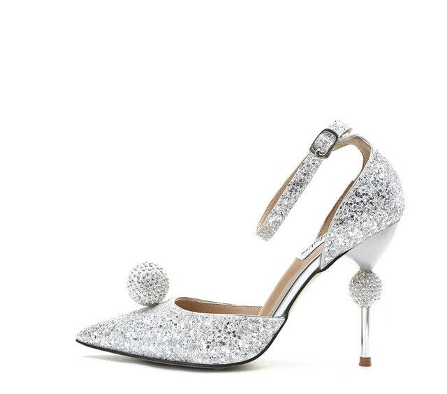 Stiletto Heel Wedding Crystal Pumps Bling Bling Sexy Pointed Toe Strange Style Heel Ankle Strap Crystal Ball Decor Bride Shoes