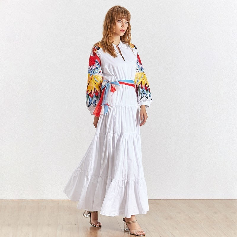 Embroidery Patchwork Dress Women O Neck Lantern Sleeve High Waist Lace Up Maxi Dresses Female Fashion 2020 Elegant