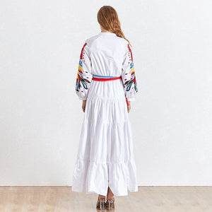 Embroidery Patchwork Dress Women O Neck Lantern Sleeve High Waist Lace Up Maxi Dresses Female Fashion 2020 Elegant - LiveTrendsX