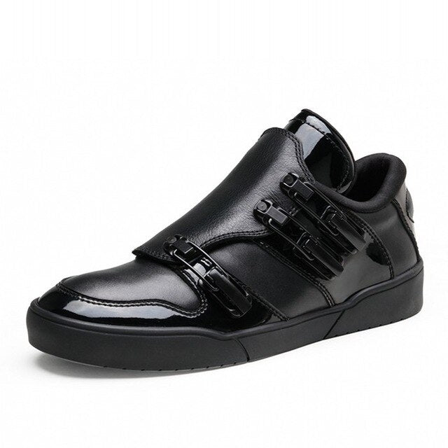England Style Punk Genuine Leathe Cow Men Breathable Zipper New Fashion Winter Male Casual Shoes Hidden Height Buckle Strap - LiveTrendsX