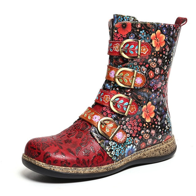 Women Boots Retro Printed Metal Buckle Genuine Leather Zipper Ankle Boots Ladies Shoes Women Botines Mujer 2020 - LiveTrendsX