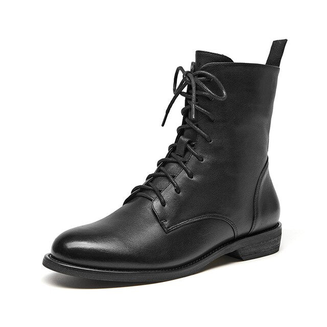 Ankle Boots Women Genuine Leather Lace-Up Side Zipper Top Quality Autumn Winter Lady Shoes Handmade - LiveTrendsX