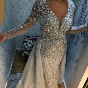 New Arrival Silver Evening Dresses Elegant V Neck Long Sleeve Tulle Crystal Beads Formal Dress Party Women Evening Gown Mermaid - LiveTrendsX